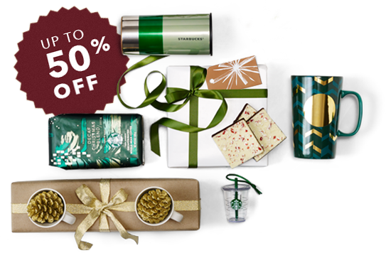 Image of Starbucks Gifts and 50% off tag