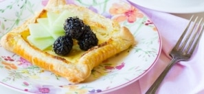 Honey and Goat Cheese Tarts with Blackberries and Honeydew