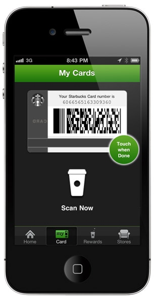 A barcode reader scans your iPhone just like if it was a physical Starbucks Card