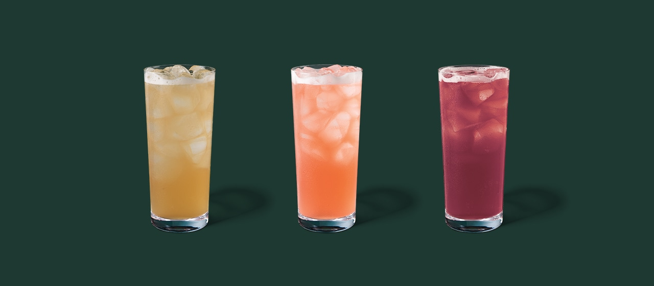 New Iced Tea Trio: Iced Peach Green Tea Lemonade, Iced Guava White Tea Lemonade, Iced Blueberry Black Tea Lemonade