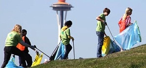 A group of young people picking up litter