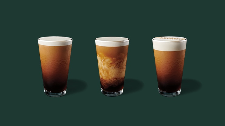 Nitro Cold Brew, Nitro Cold Brew with Sweet Cream, Nitro Cold Brew with Cascara Cold Foam