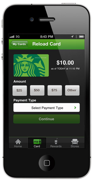 Just a few taps and your Starbucks Card is reloaded - securely - using your credit card