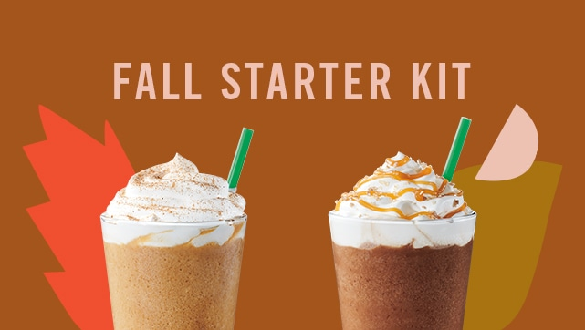 Pumpkin Spice Latte Frappuccino® blended beverage and Salted Caramel Mocha Frappuccino® blended beverage