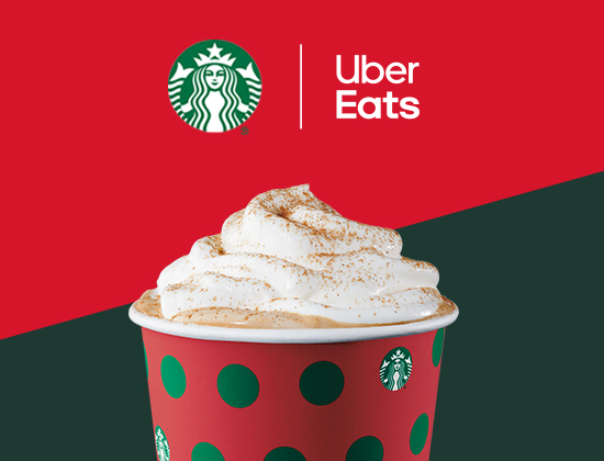 Get your Starbucks® holiday drinks and treats delivered with Uber Eats.