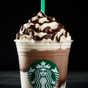 Mocha coffee Frappuccino® is enveloped between layers of whipped cream that's infused with cold brew, white chocolate mocha and dark caramel.