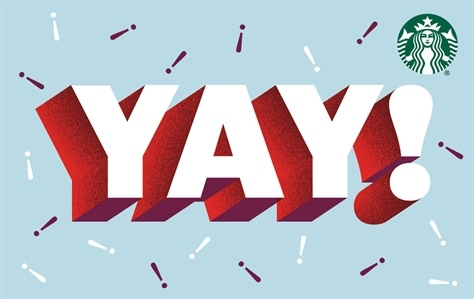 YAY! Is spelled out in large white letters with red shadows. YAY! Is on top of a light blue background with white and red sprinkles scattered across the background