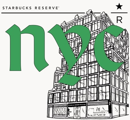 Illustration the front of the Starbucks Reserve Roastery in New York