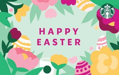 Happy Easter is in the center of this card in bright pink font. Circling around this card are green leaves and yellow, pink, and red flowers. Mixed into the flowers are Easter Eggs