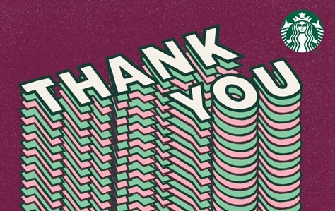 Set against a maroon backaround is white block lettering spelling out Thank You. There are dozens of Thank You layered on top of each other causing the phrase to look like it is shooting out of the bottom of the card.
