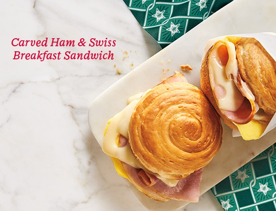Carved Ham & Swiss Breakfast Sandwich
