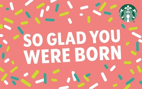 This card looks like the top of a cupcake, a pink background with white, green, and yellow sprinkles scattered all around the edges. In the center of the card is white block lettering saying: So Glad You Were Born/