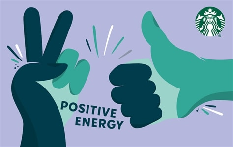 Two hands are meeting in the middle of this card. The right hand is making a thumbs up sign and the left hand is making a peace sign. The hands are dark blue and teal. In dark blue writing in the middle of the cards, is the phrase Positive Energy. This is set against a light purple background