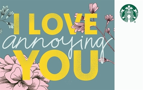 I Love You in written across this card in big bold yellow block letters. Stacked in between Love and You is the word annoying in curvie white script… creating the phrase I Love Annoying You against a grey background with pink flowes in the corners.