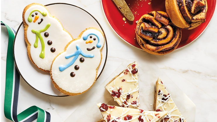 Iced Snowman Cookie, Cranberry Bliss® Bar and Chocolate Brioche holiday baked goods