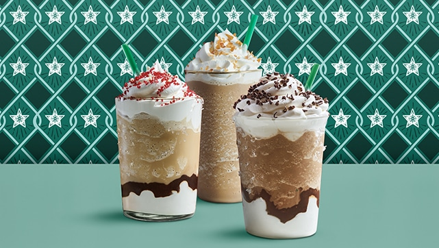 Peppermint Mocha Frappuccino blended beverage, Toasted White Chocolate Mocha Frappuccino blended beverage and Caramel Brulée Frappuccino blended beverage