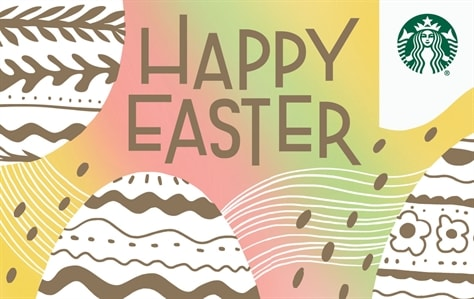 Happy Easter Is Written In Gold Block Font Against A Pastel Rainbow Background There Are
