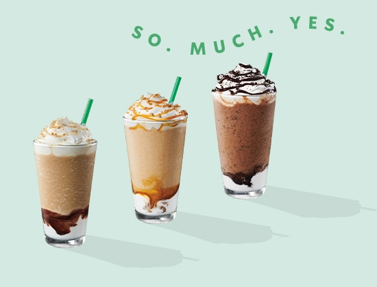 S'mores, Mocha Cookie Crumble and Caramel Ribbon Crunch Frappuccino blended beverages