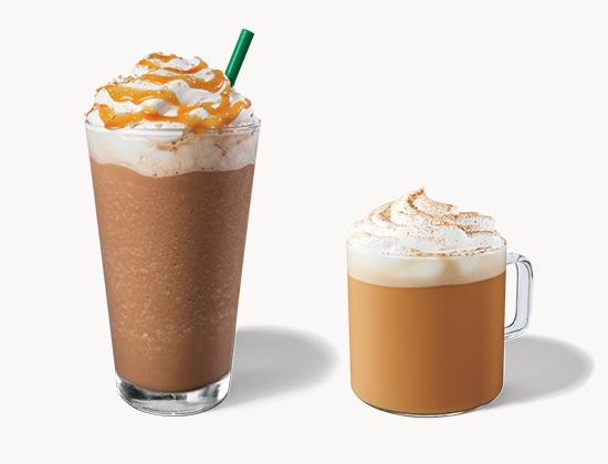 Starbucks Pumpkin Spice Latte and Salted Caramel Mocha Frappuccino® drinks