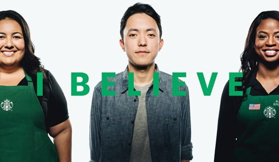 "Three people with ""I Believe"" copy overlay"