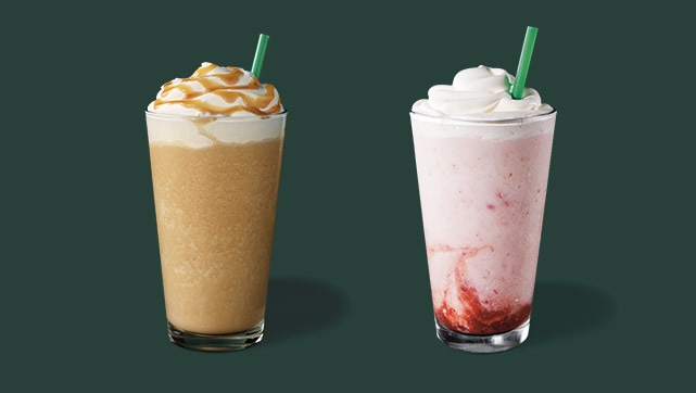 Caramel Frappuccino® blended beverage and Strawberry Frappuccino® blended beverage