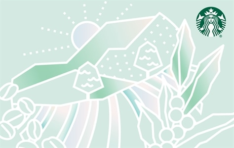 A sun is peaking over a mountain with fields and flowers are acorss this card in white outline. The outline is set against shades of green