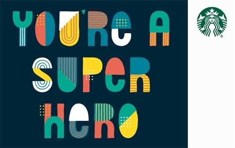 You're A Super Hero is written big, bold, and colorful writting stacked across in the center of this dark blue card.