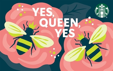 Two bumble bee's are sitting atop pink flowers on a dark blue background. The two bee's are wearing crowns. In between the two bees is white block lettering saying Yes, Queen, Yes