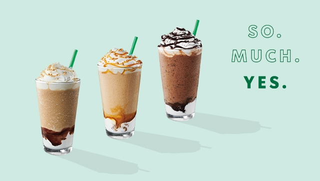 S'mores Frappuccino® blended beverage, Mocha Cookie Crumble Frappuccino® blended beverage and Caramel Ribbon Crunch Frappuccino® blended beverage
