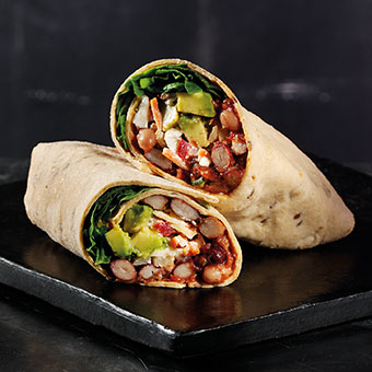 Gluten Free Avocado and Three Bean Wrap