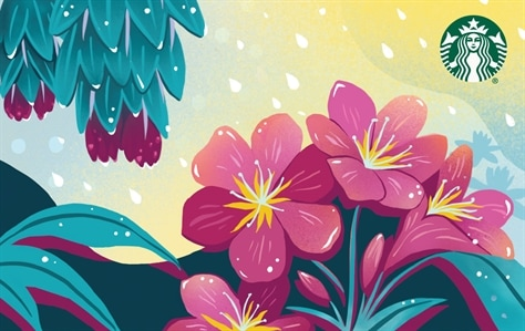 A bunch of pink flowers are gathers on the right side of this card. There is a bit of sun peaking through rain drops above them and the leaves of a tree on the left.