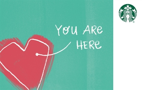 """Card reads """"You Are Here"""" with an arrow pointing to a pink heart on a teal background."""