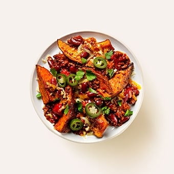 Loaded Sweet Potato Wedges & Chilli Beef