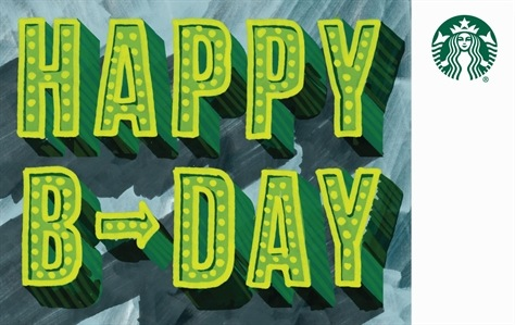 Large Bright Green Letters Read Happy B Day Against A Blue Abstract Background