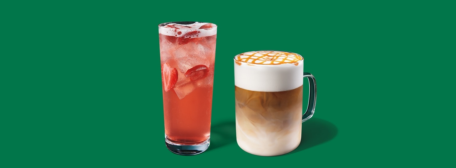 A refreshing pink strawberry drink and hot caramel espresso beverage with foam on top—two Starbucks Happy Hour options.