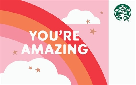 A red, orange, and pink rainbow is set against a pink sky with two fluffy clouds and gold stars. Written on top of the rainbow in white bubbly letters is You're Amazing