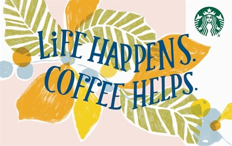 """A white card with tropical orange flowers and green tropical leaves from top left to bottom right of the card has the words """"Life happens. Coffee helps."""" in blue letters. Card has a soothing, beachy vibe."""