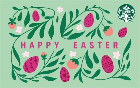 Happy Easter in written in magenta across the center of this mint green card. All around the words are ivy like vines with pink and magenta Easter Eggs and white flowers.