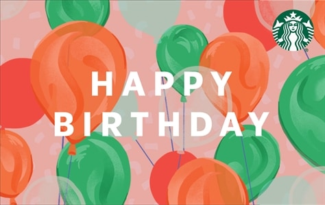 White, capitalized, block lettering is saying Happy Birthday against a background of pink, red, green, and orange balloons.