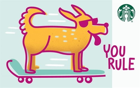"""A happy yellow lab rides a skateboard toward the right side of the card. The dog is outlined in magenta and is wearing magenta sunglasses. Its ears are blowing back in the wind and its tongue is out, and the words """"YOU RULE' are next to him."""